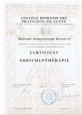 Diplôme d'Auriculothérapie